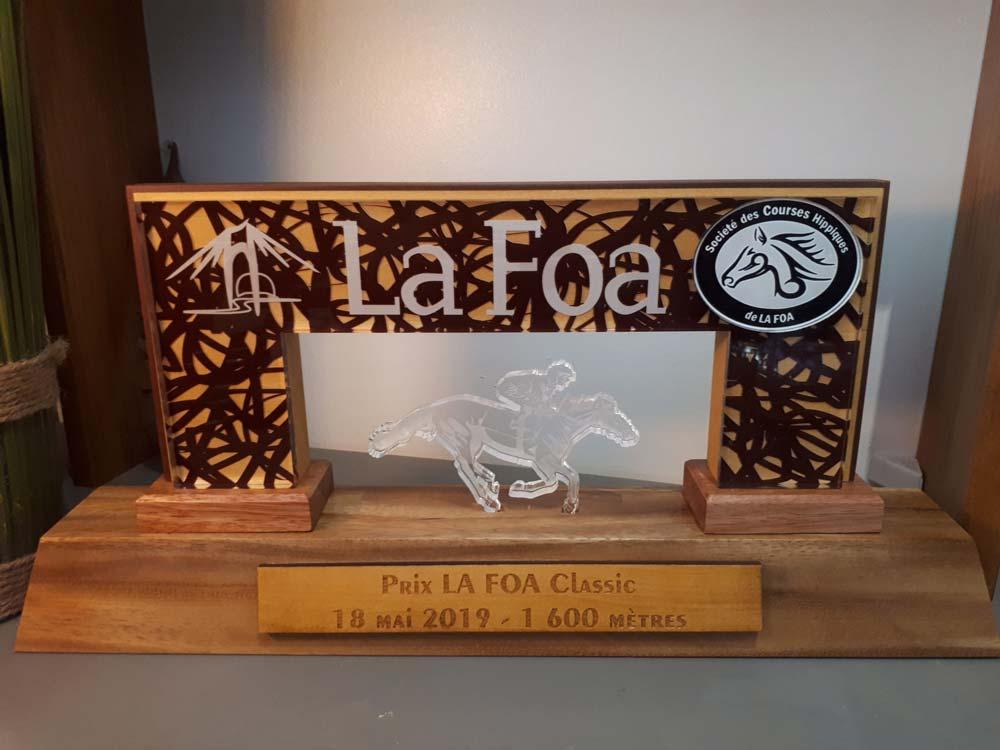 Trophée en bois de Nouvelle-Calédonie et plexiglas